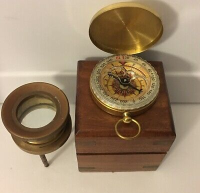 Vintage Brass Nautical Map/Chart Magnifying Glass Reader w/ Wooden Box & Compass