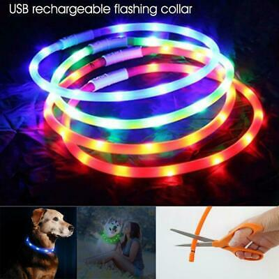 USB Rechargeable Waterproof Pet Dog Collar LED Flashing Light Up Safety Belt #US
