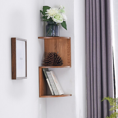 3 Tier Floating Wall Shelves Corner Shelf Storage Oak Display Bookcase Decor