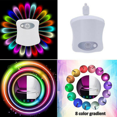 8Color Human Motion Sensor Automatic Seats LED Light Toilet Bowl Bathroom Lamp I