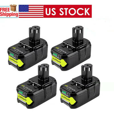 4XFor Ryobi P108 18V 6.0Ah Lithium Ion Battery Pack Replaces P122 P105 P103 P102