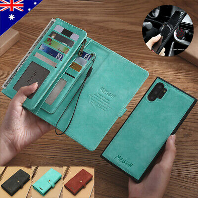 ⭐Fr Samsung S10+ S9 Note 8 Note 10 Removable Leather Flip Wallet Card Case Cover