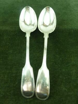 2 nice Antique Lee  Wigfull Serving Spoons Silver Plated Fiddle & Thread pattern