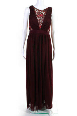Adrianna Papell Womens Tulle Lace Gown Dress Red Size 8 10599835