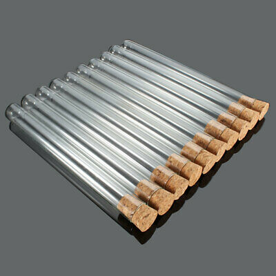 10/20PCS Lab Glass Test Tubes With Cork Stopper 20x200mm / 18x180mm / 15x150mm