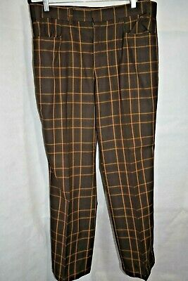 Vintage Austin Reed Mens Brown Check 70's Trousers 36""