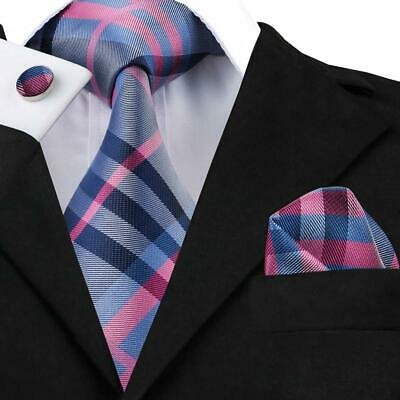 Mens Necktie Blue Red Checks Silk Tie Set Striped Hanky Cufflinks Business