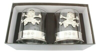 Skull & Crossbones Pair Crystal Tumblers with Pewter Base in Presentation Box