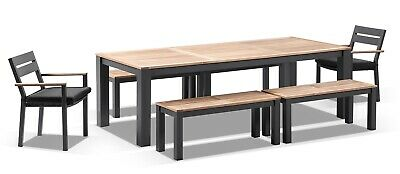 NEW Balmoral 2.5m Teak Top Aluminium Table w/ 4 Bench Seats + 2 Chairs | Outdoor