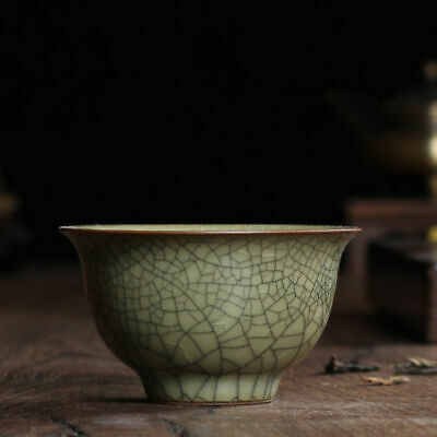 2pcs longquan celadon porcelain tea cup marked brother kiln crackle glaze cups7
