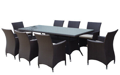 NEW Sorrento 8 Seater Wicker and Glass Top Dining Table + Chairs Setting | Patio