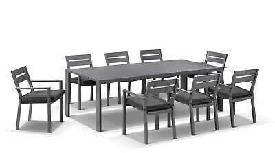 NEW Capri 8 Seater Outdoor Aluminium Dining Table And Chairs Setting In Charcoal