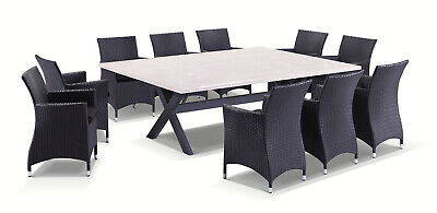 NEW Sicillian 10 Seat Outdoor Travertine Stone Top Dining Table w/ Wicker Chairs