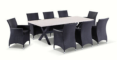 NEW Sicillian 8 Seater Rectangle Stone Dining Table and Wicker Chairs Setting
