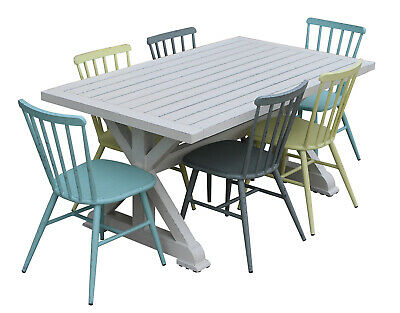 NEW Torquay 1.6M Aluminium Outdoor Table With 6 Windsor Stackable Dining Chairs