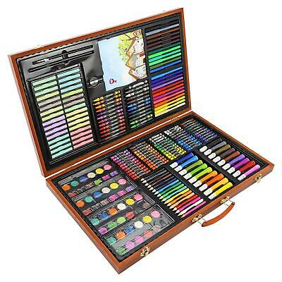 258pc Artists Wooden Art Case Colouring Pencils Painting Set Childrens/Adults