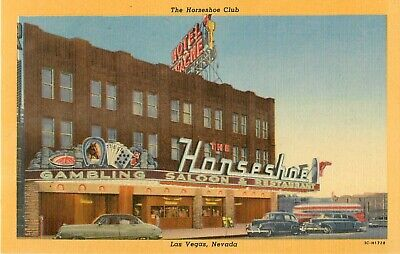c1950s The Horseshoe Club, Las Vegas, Nevada Linen Postcard