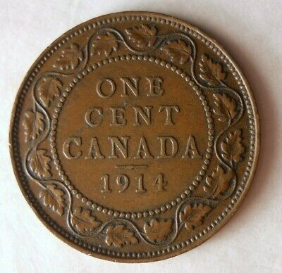1914 CANADA CENT - AU - Excellent Coin - FREE SHIP - Canada Bin ZZ