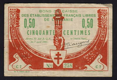French Oceania P-7. 1942 50 Centimes..   Scarce Issue..  aVF