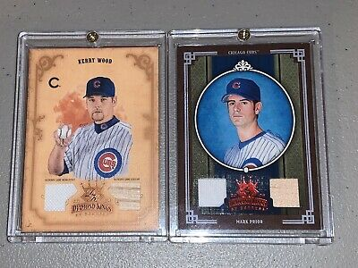 Chicago Cubs Mark Prior & Kerry Wood Diamond Kings By Donruss Jersey & Bat Card!