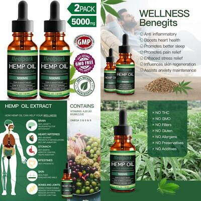 Hemp Oil 5000mg for Pain Relief Anxiety 100% Natural Organic Hemp (2 Pack)