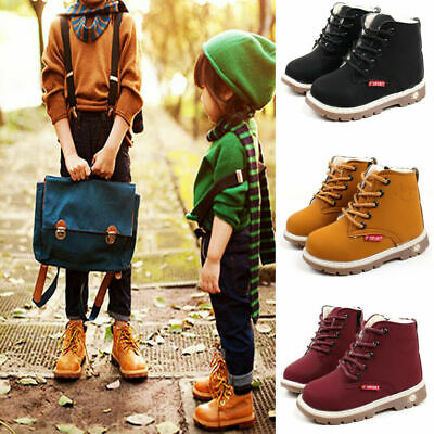 UK Boys Girls Warm Autumn Winter Martin Boots Fur Lined Children Shoes Shoes New
