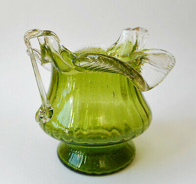 Vintage Antique Green Glass With Clear Ruffles & Handles Victorian Glass Vase
