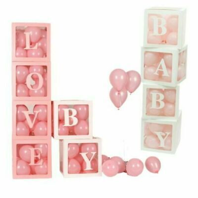 4Pc Letter BABY LOVE XMAS Hard Card Cube Boxes Baby Shower Party Xmas Decoration