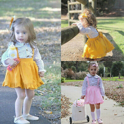 Toddler Kids Baby Girl Polka Dot T shirt Tops Strap Suspender Skirts Outfits Set