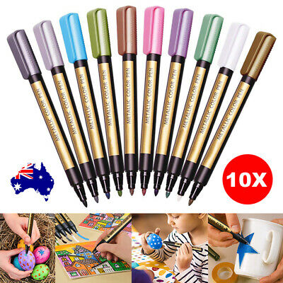 10 Colors Set Paint Marker Pens Metallic Sheen Glitter Calligraphy Arts Album S4