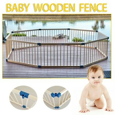 8 Panel Wooden Pet Kids Baby Playpen Toddler Fence Play Yard Foldable AU SHIP