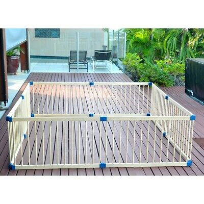 8 Panel Wooden Pet Kids Baby Safety Playpen Toddler Fence Play Yard Foldable