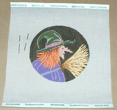 Halloween Red Headed Witch w/ Broom Handpainted Needlepoint Canvas
