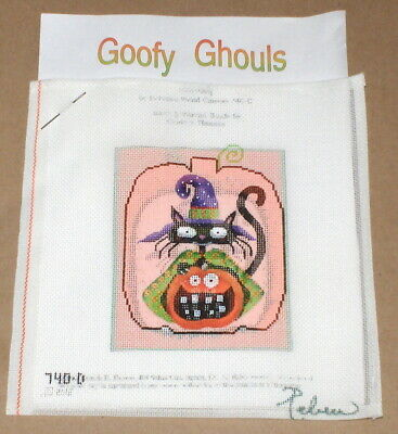 "Rebecca Wood Halloween Goofy Ghouls ""Kitty Katty"" HP Needlepoint Canvas w/ SG"