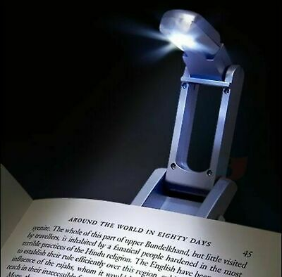 LED Clip on Book Light Kindle Laptop Fold Out Lamp Stocking Fillers TWIN PACK