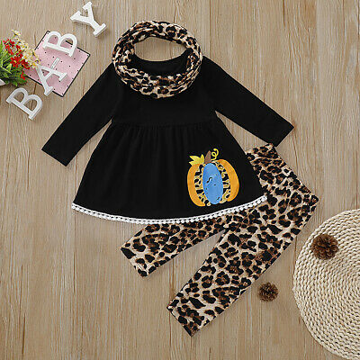 3PCS Toddler Baby Girls Tops Skirt/Long Pants Headband Jumpsuit Outfits Clothes