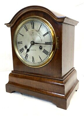 CHESTER Antique Mahogany TING TANG Bracket Mantel Clock : CLEANED & SERVICED