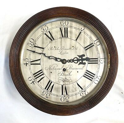 National Provincial Bank CHAIN Fusee Mahogany Wall Clock SIR JOHN BENNETT LONDON