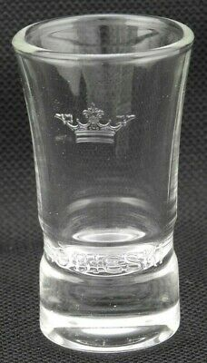 SET of 6 Clear Glass Shot Glasses 1 oz Etched Crown Nice Shape New in Boxes