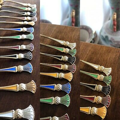 Antique Or Vintage Enamel Sold Silver Set Of 12 Teaspoons Spoons With Thistle