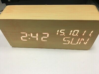Wooden clock  LED Digital display with Calendar Temperature time