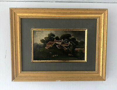 Antique 19th Century French Oil on Board Painting Pastoral Landscape Scene