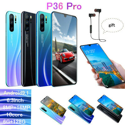 "P36 Pro 6.3"" HD Smart Phone Water Drop Screen Android OS 9.1 Dual SIM 10 Core UK"