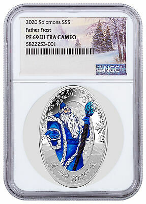 2020 Solomon Father Frost Oval Shaped 1 oz Silver $5 Coin NGC PF69 UC SKU59699