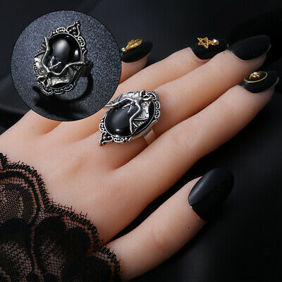 Gift New Jewelry Gothic Witch Ring Halloween Black Bat Ring Bat Cameo Ring