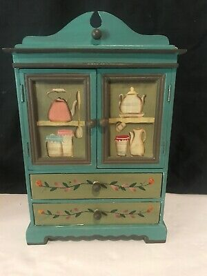 """16"""" Wooden Kitchen Hutch Minature 2 Drawers 2 Armoire Doors Hand painted"""