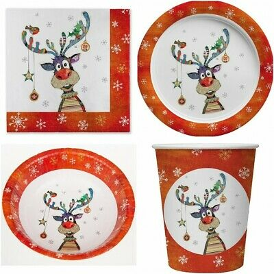 PARTY TABLEWARE Childrens Adults CHRISTMAS Dinner Paper Plates Cups Napkins UK