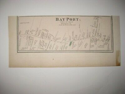 Vintage Antique 1873 Bayport Suffolk County New York Handcolored Map Superb Nr