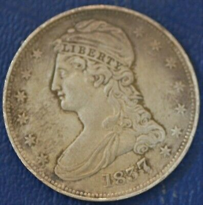 1837, Reeded Edge, XF-AU U.S. Capped Bust Half Dollar, See notes re cleaning