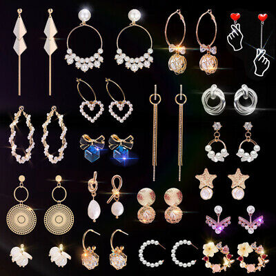 Lots Women Crystal Pearl Long Tassel Drop Charm Dangle Earrings Party Jewelry